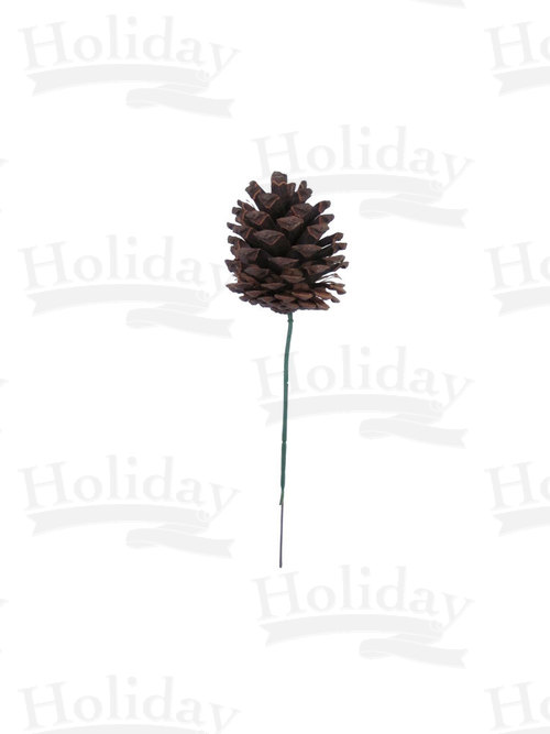 Single Pine Cone on Wired Plastic Pick, Natural