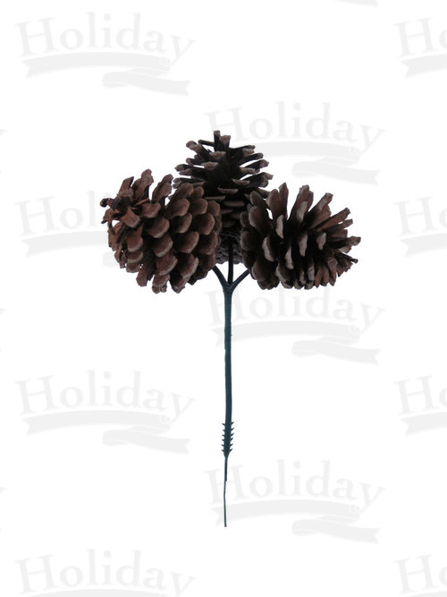 Three Pine Cones on Wired Plastic Pick, Natural