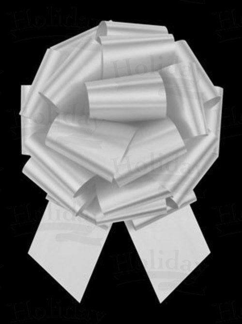 #40 Poly Satin Pull Bow/WHITE/50 pack