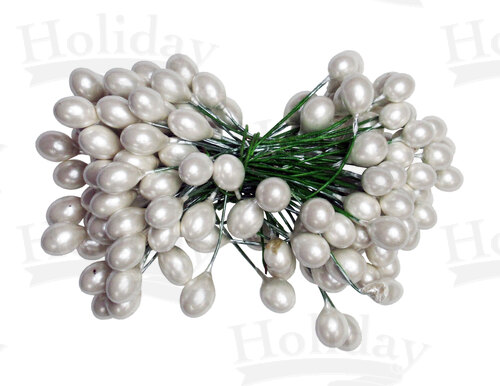 Holly Berries, 10 gross, 7-8mm, Pearlized White