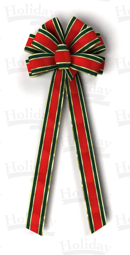 #40 Ten Loop Bow, Red/Green/Gold Gucci Pattern