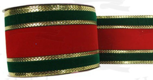 #40 Ribbon, Red/Green/Gold Gucci Pattern, Pressed Gold Wired Edge, 25 Yard Roll - Click Image to Close