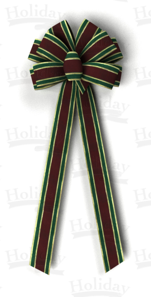 #40 Ten Loop Bow, Burgundy/Green/Gold Gucci Pattern