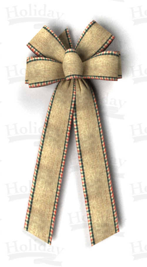 #40 Oatmeal Linen, Pressed Wired Red/Green Plaid Edge Bow