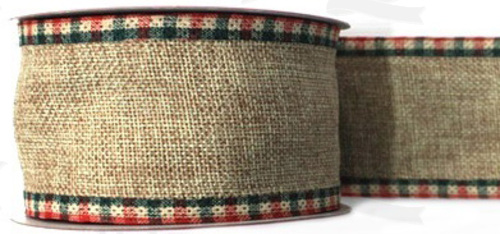 #40 Ribbon, Oatmeal Linen, Pressed Wired Red/Green Plaid Edge, 25 Yard Roll