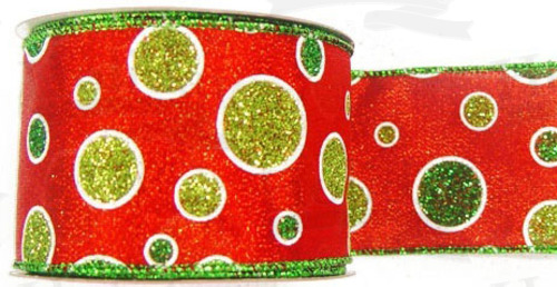 #40 Ribbon, Glitter Citrus Polk-a-dot Print, Red with Green Wired Edge, 25 Yard Roll
