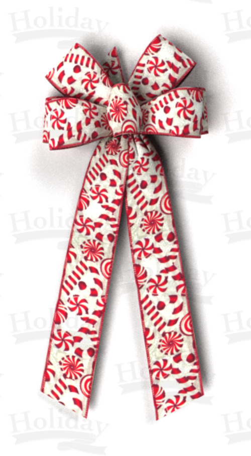 #40 Red Mints Print on White, Red Wired Edge Bow