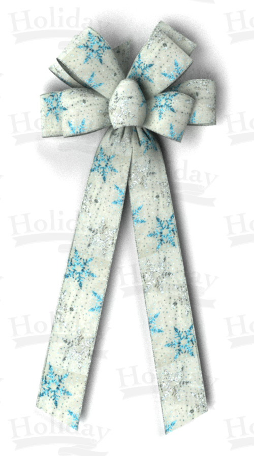 #40 Eight Loop Bow, Silver/Blue Snowflakes Print on White