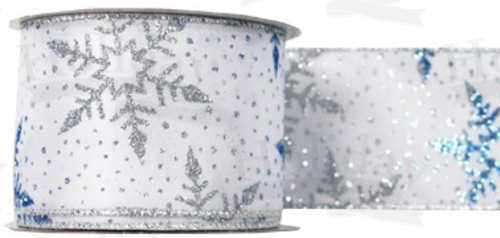 #40 Ribbon, Silver/Blue Snowflakes Print on White, Silver Wired Edge, 25 Yard Roll