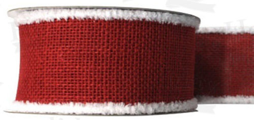 #40 Ribbon, Red Burlap, Fuzzy White Wired Edge, 25 Yard Roll - Click Image to Close