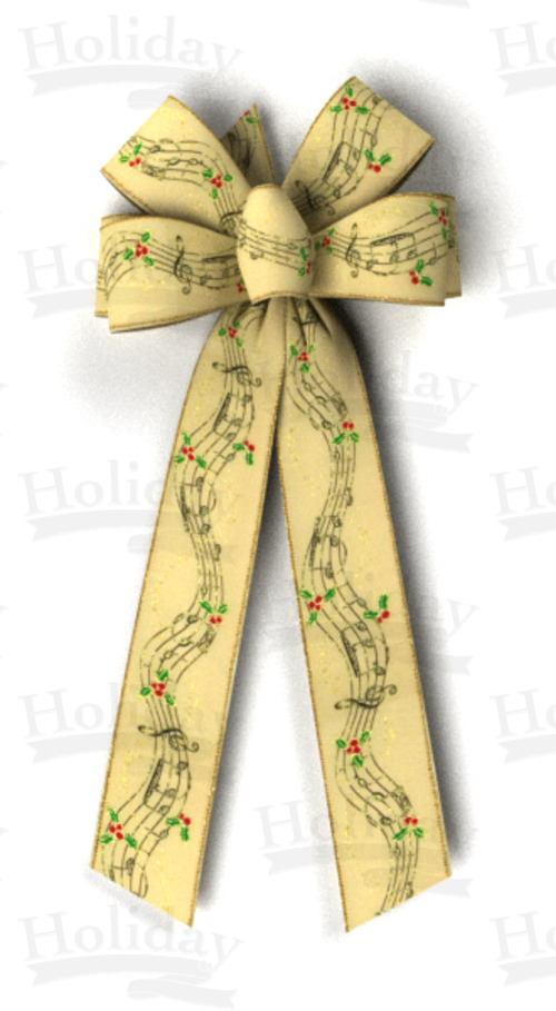 #40 Musical Score Print on Light Tan, Gold Wired Edge Bow