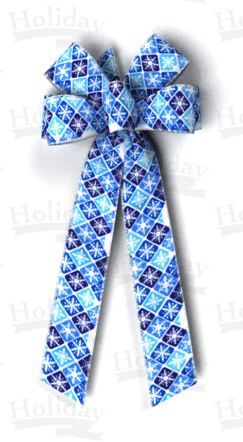 #40 Blues Snowflake Check Print, Silver Wired Edge Bow