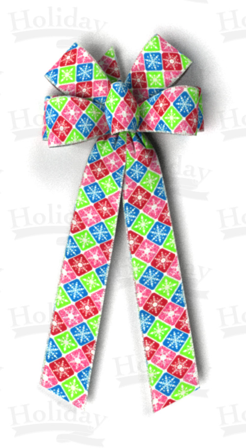 #40 Multi-color Snowflake Check Print, Silver Wired Edge Bow