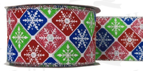 #40 Ribbon, Multi-color Snowflake Check Print, Silver Wired Edge, 25 Yard Roll