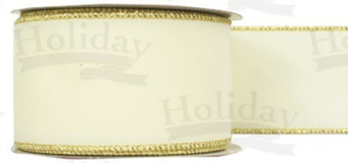 #40 Ribbon, Cream Velvet, Gold Wired Edge, 25 Yard Roll