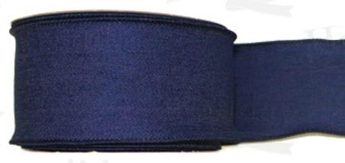 #40 Ribbon, Blue Denim, Self Wired Edge, 25 Yard Roll - Click Image to Close