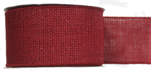"#40 Ribbon, 2.5""X25Y, Red Burlap, Self Wired Edge"