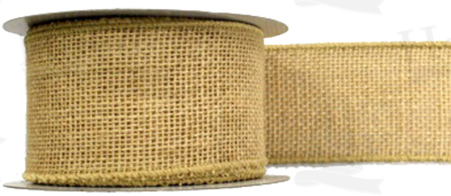 #40 Ribbon, Natural Colored Burlap, Self Wired Edge, 25 Yard Roll
