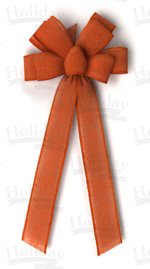 #40 Eight Loop Bow, Orange Burlap, Self Wired Edge