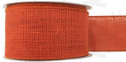 "#40 Ribbon, 2.5""X25Y, Orange Burlap, Self Wired Edge"