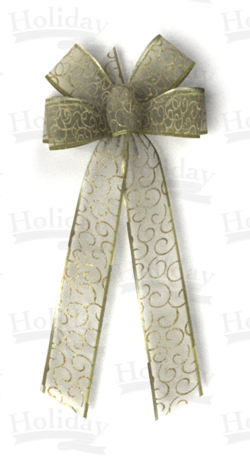 #40 Gold Swirls on Gold Sheer, Gold Pressed Wired Edge Bow - Click Image to Close