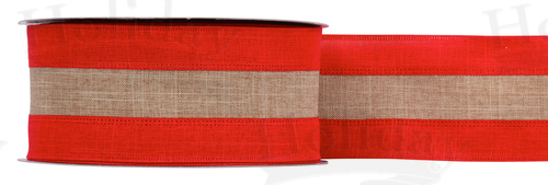 "#40 Ribbon, 2.5""X25Y, Two-Tone Wired Linen Red/Natural"
