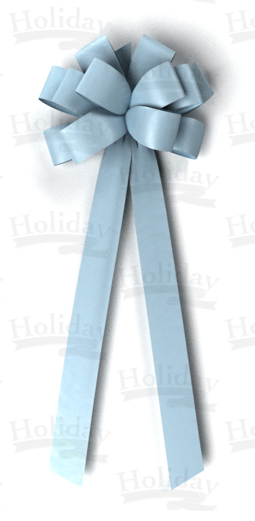 #40 Twelve Loop Poly Satin Bow/LT BLUE
