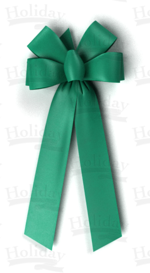 #40 Six Loop Poly Satin Bow/EMERALD
