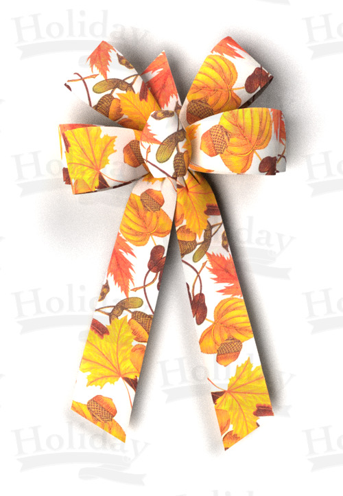 #09 Six Loop Poly Prints Bow/HARVEST PRINT-AUTUMN BREEZES