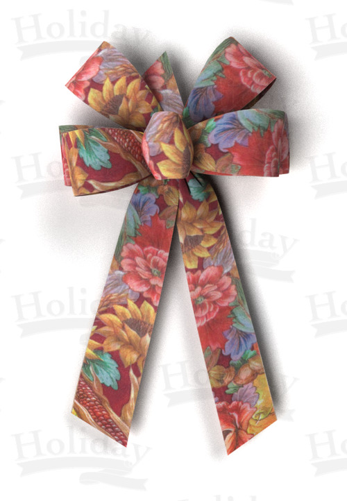 #09 Six Loop Poly Prints Bow/HARVEST PRINT-GARDEN HARVEST