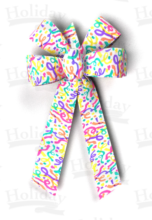 #09 Six Loop Poly Prints Bow/CONFETTI