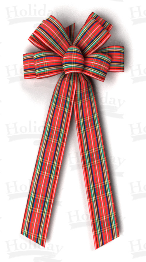 #40 Eight Loop Plaid Acetate Bow/METALLIC TARTAN