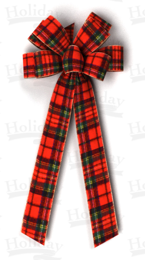 #40 Eight Loop Wired Plush Plaid Bow
