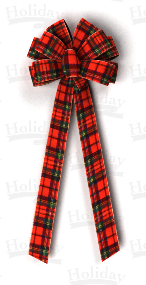 #40 Ten Loop Wired Plush Plaid Bow