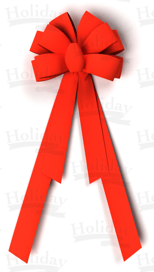 #40 Ten Loop Velvet Bow-4 tails/RED/DLX