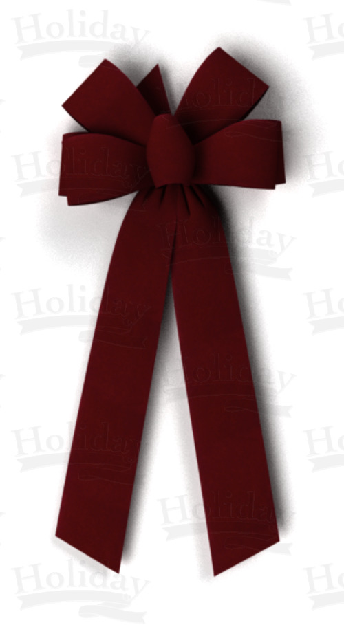 #40 Six Loop Velvet Bow/BURGUNDY
