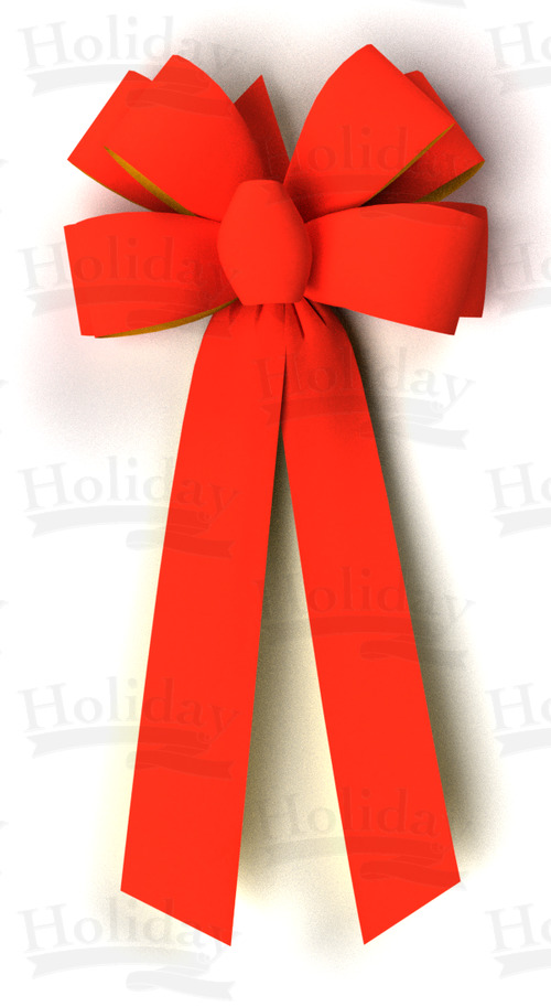 #09 Eight Loop Gold Back Velvet Bow/RED