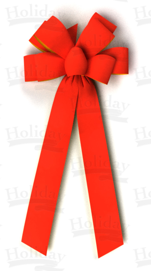 #40 Eight Loop Gold Back Velvet Bow/RED