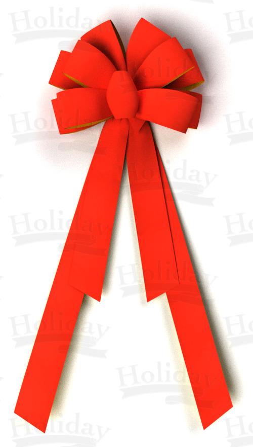 #40 Ten Loop Gold Back Velvet Bow-4 Tails/RED/DLX