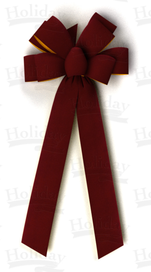 #40 Eight Loop Gold Back Velvet Bow/BURGUNDY