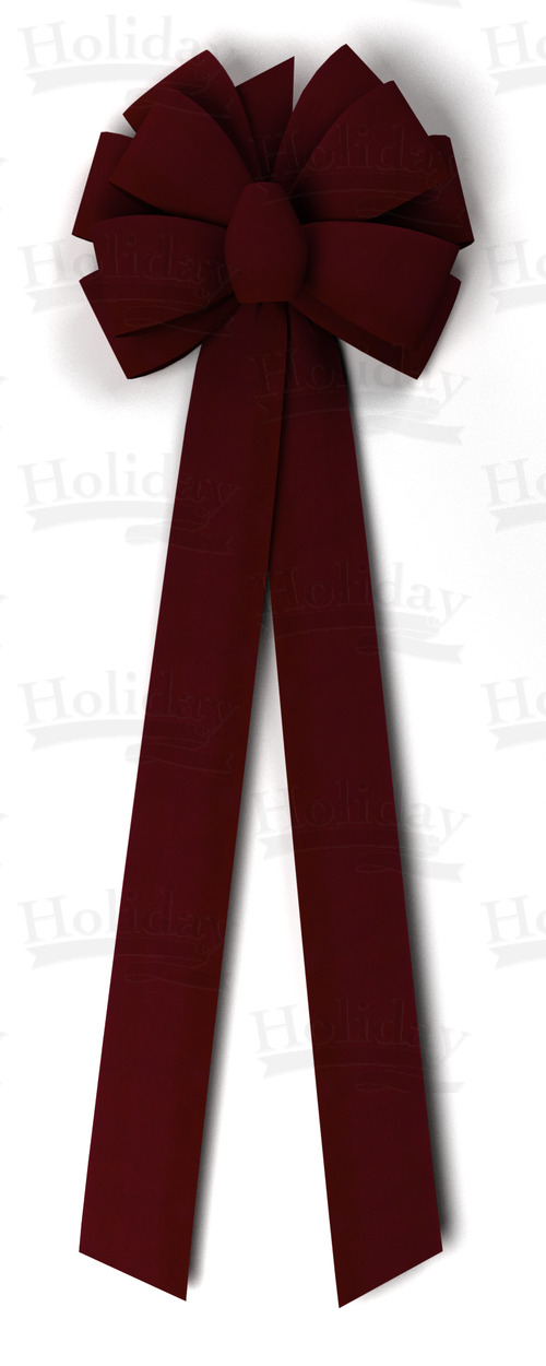 BIGGER! Ten Loop Gold Back Velvet Bow/BURGUNDY