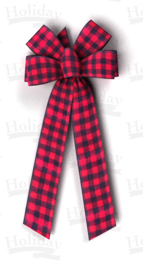 #40 Six Loop Black & Red Fuzzy Check Bow