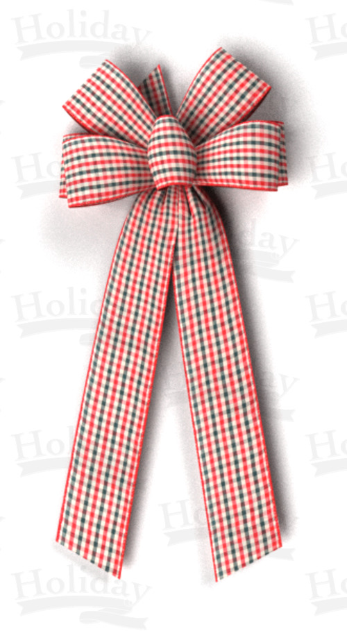 #40 Six Loop Wired Country Plaid Bow/Pattern D
