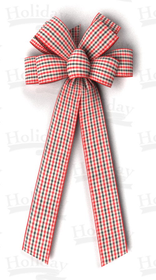#40 Eight Loop Wired Country Plaid Bow/Pattern D