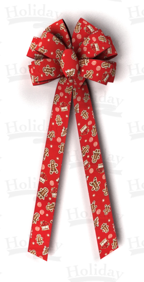 #40 Ten Loop Gingerbread Bow/RED, PATTERN B - Click Image to Close