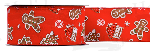 #40 Wired Gingerbread Ribbon/RED, PATTERN B/25yds
