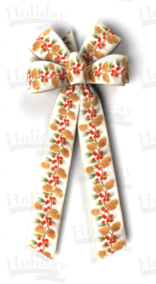 #40 Six Loop Wired Pine Cones & Berries Bow/CREAM, Pattern A