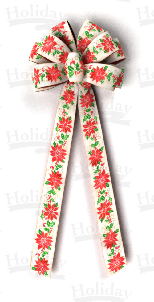 #40 Ten Loop Wired Poinsettias Bow - Click Image to Close