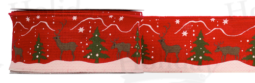 #40 Wired Reindeer Ribbon/RED/25 yds