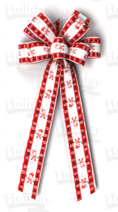 #40 Eight Loop Satin Red Snowmen Bow - Click Image to Close